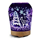 Ocamo Creative 3D Elk Pattern Humidifier Aroma Diffuser 8-color Cycling LED Night Light Gift Decoration (with Wood Grain Timing Base) U.S. regulations