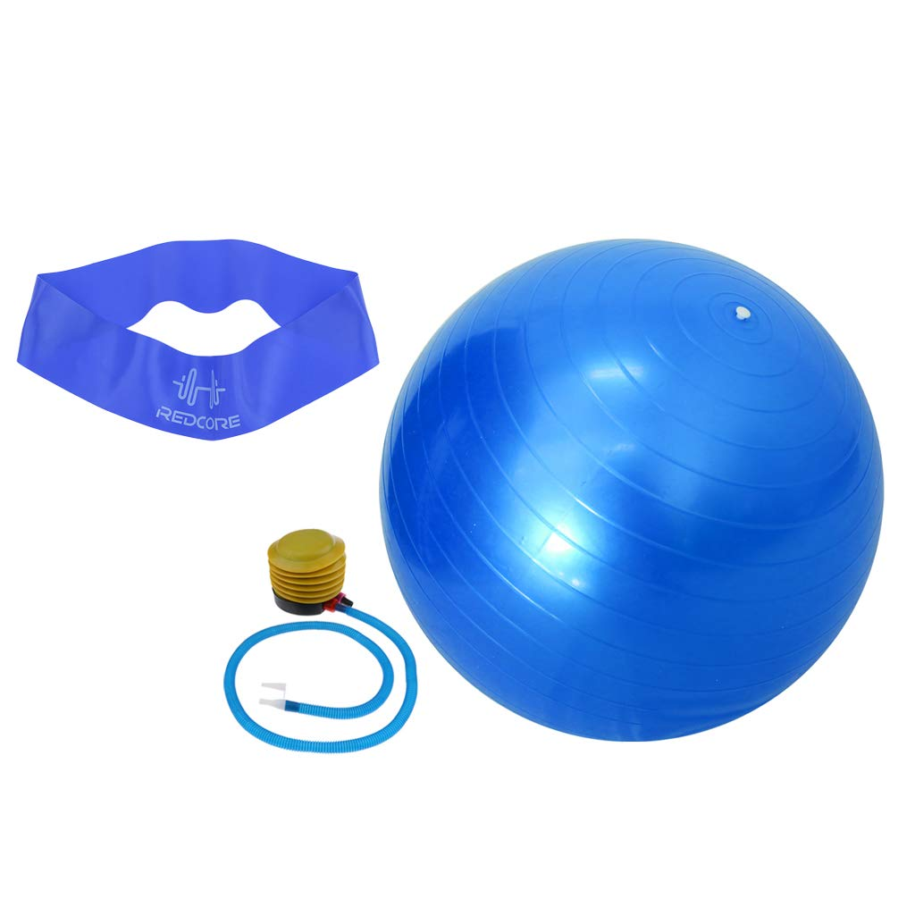 SM SunniMix Office & Home & Gym Swiss 65cm Yoga Balance Ball with Pump & Resistance Exercise Band for Body Stretching