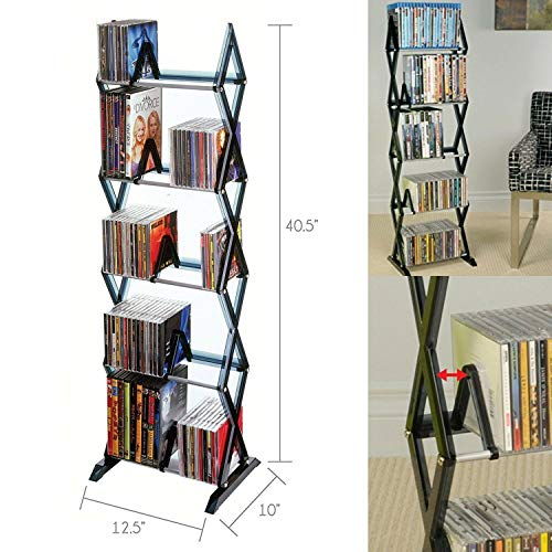 Pedestal Cd Tower - Alek...Shop Stand Holder Storage Rack 5 Tier Shelf Media Tower DVD CD Game Organizer Display Home Entertainment