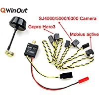 QWinOut 5.8G 600MW 32ch Mini Wireless Audio Video AV Transmitter & Mushroom Antenna for FPV Gopro Hero 3 Mobius Active 808 SJ4000