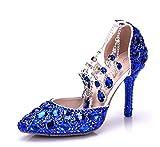 Minishion Womens Rhinestone Crystals Beading Ankle Chains Blue Bridal Wedding Shoes US 9