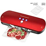 KitchenBoss Vacuum Sealer Machine for Dry & Moist Foods Preservation Automatic Vacuum Sealing System, Intelligent LED Indicator Lights, Manual Inching Function with 20 vacuum bags(Red)