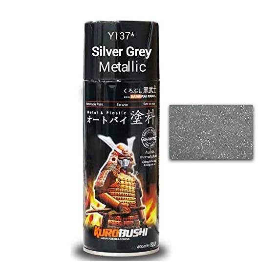 SAMURAI KUROBUSHI Spray Paint 1K 1Star Metallic Colour Coat #Y137*- SC SILVER GREY METALLIC (D-I-Y Do It Yourself)- 400ml