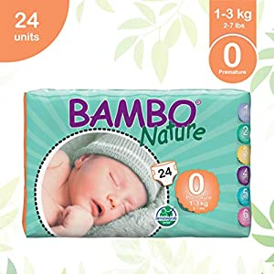 Bambo Nature Premium Baby Diapers – XXS Size, 24 Count, for Premature Baby – Super Absorbent, Eco-Friendly and with a…