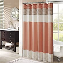 Madison Park Amherst Bathroom Shower Faux Silk Pieced Modern Microfiber Bath Curtains, 72X72 Inches, Coral