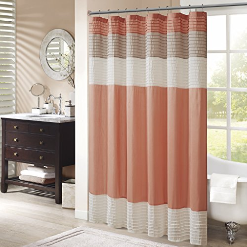 Madison Park MP70-2319 Amherst Shower Curtain 72x72 Coral (And Shower Coral Curtain Gray)