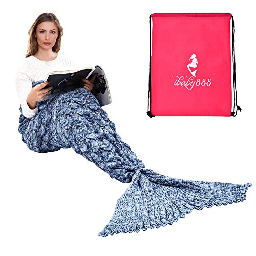 Pirate Mermaid Costumes (Handmade Mermaid Tail Blanket Crochet , iBaby888 All Seasons Warm Knitted Bed Blankets Sofa Living Room Quilt for Adults, Fish-scales Pattern, 76.8