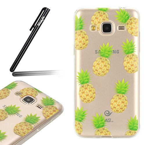 Funda para Samsung Galaxy J3 J3 (2016), Ukayfe Suave Carcasa Caso Parachoques Diseño pintado Patrón para Samsung Galaxy J3 J3 (2016),Funda Case Lujo Premium Bling Caja PC Dura Ultra Fina Cubierta Matt Piña