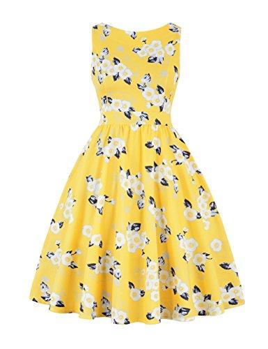 HUINI Retro Kleid Vintage Rückenausschnitt Cocktailkleid Partykleid 50er  Rockabilly Swing Kleider A-Linie Muster Ärmellos 005f34d1c8