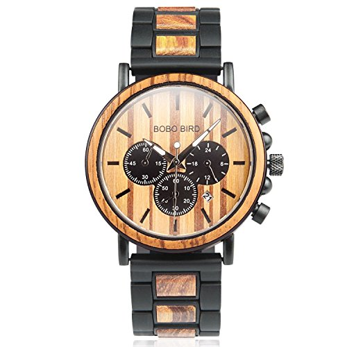 Wooden Mens Watches Luxury Chronograph Military Sports Wood Quartz Watches for Men