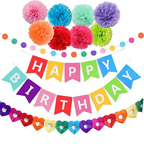 Zthread Happy Birthday Party Decoration, Kids/Girl/Boy Birthday Decor kit Set Tissue Paper Pop Pom Flower Rainbow Garland Birthday Decoration -