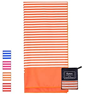 Microfiber Beach Towel Oversized - XL 70 x 35 Inch - Quick Dry, Sand Free, Extra Large, Lightweight with Easy Zipper Bag - Perfect for Travel, Yoga, Gym, Beach Blanket & Backpacking - (Orange Sunset)