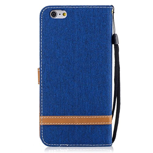 Phone Case & Hülle Für iPhone 6 Plus & 6s Plus, Denim Texture Leder Tasche mit Halter & Card Slots & Brieftasche & Lanyard ( Size : Ip6p0029l )