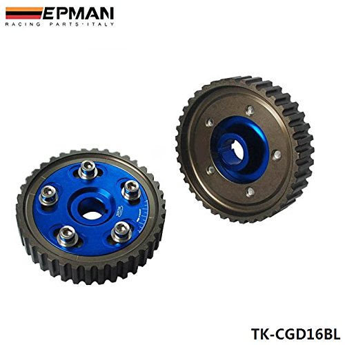 EPMAN For 88-00 Honda Civic D15 D16 Sohc Adjustable Racing Cam Gear Timing Gear Pulley Kit Blue, Pack Of 2