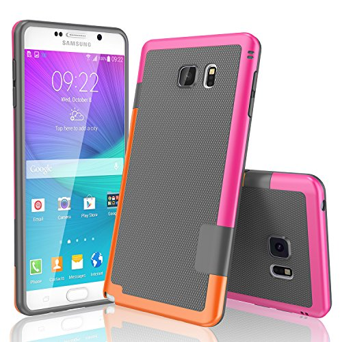 Galaxy Note 5 Case, TILL(TM) Ultra Slim 3 Color Hybrid Impact Anti-slip Shockproof Soft TPU Hard PC Bumper Extra Front Raised Lip Case Cover for Samsung Galaxy Note 5 V SM-N920 [Gray]