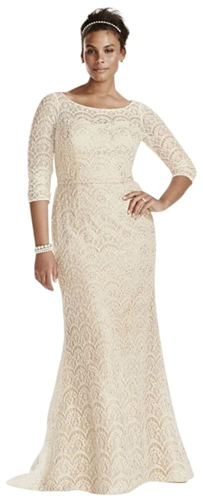 Davids bridal plus size oleg cassini boatneck 34 sleeved wedding davids bridal plus size oleg cassini boatneck 34 sleeved wedding dress style 8cwg711 at amazon womens clothing store junglespirit