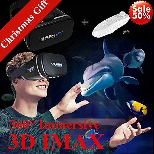 "3D VR Headset with Remote New Virtual Reality Goggles, Tsanglight VR Glasses Movie Video Game Viewer for iPhone & Android 4.0-6.0"" Smartphones like iPhone X 8 7 6 Plus Samsung S8 S7 S6 Edge, Black"