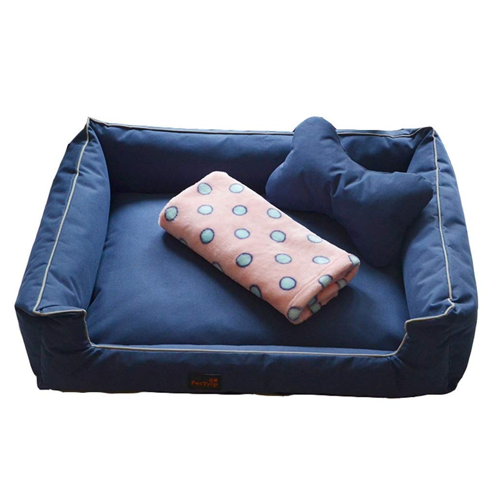50×40×16cm bluee 50×40×16cm bluee KYCD pet bed Pet Bed for Cats Dogs,Soft Comfy Cat Dog Bed with Removable Cushion,Small & Medium & Large,Warm Luxury (color   bluee, Size   50×40×16cm)