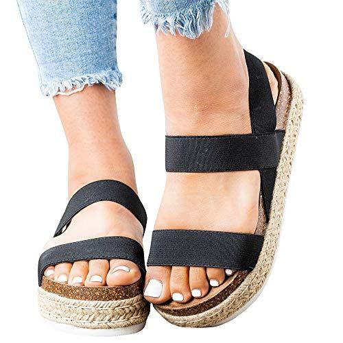 LAICIGO Sandals for Women Espadrille Platform Sandals Wedge Ankle Strap Open Toe Shoes Summer Casual Peep Toe Flat