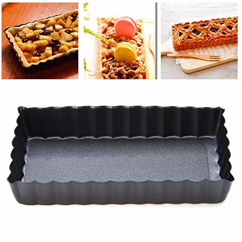 Rectangle Tart Pie Pan,WindGoal Rectangle Fluted Pie Tart Pan Mold Baking Nonstick Removable Bottom Quiche Tool