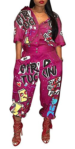 LKOUS Women Casual Cartoon Printing Short Sleeves High Waist One-Piece Jumpsuits Button Romper Playsuit