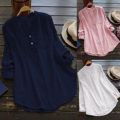Tops Mode Blouse Shirt Tunique Femmes Manche Col Top Lche Coton Dcontracte en Montant Haut Longue en Marine Chemisier Shirt Tee URSING Classique Chemise Vrac T vHwqTq