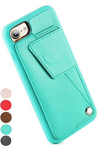 iPhone 7/ iPhone8 Wallet Case,ZVEdeng iPhone 8 Card Holder case, Durable Protective PU Leather iPhone 7 case Shockproof Cover with Credit Card Slot Holder for Apple iPhone 7/ iPhone 8 - Mint Green