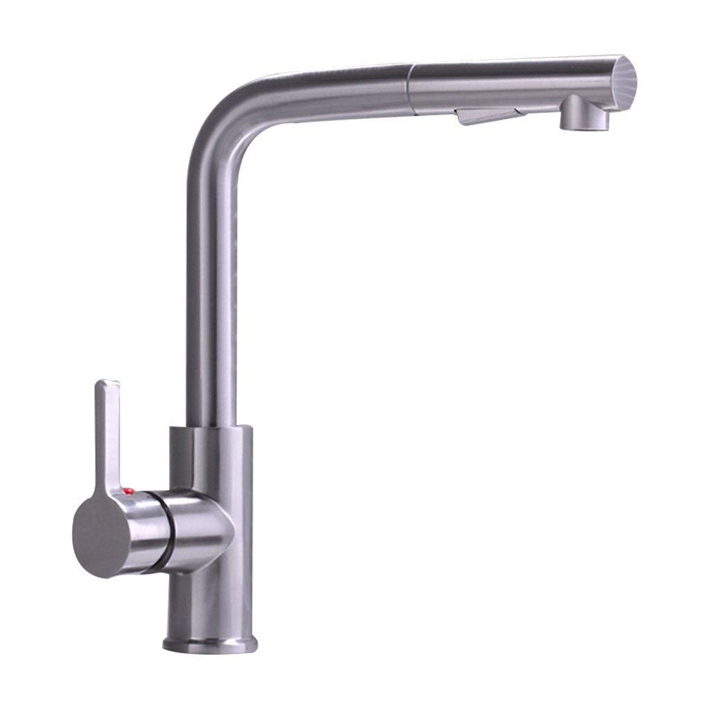 Kitchen Sink Faucets Faucet Can Be Rotated, Lead-free Hot And Cold Kitchen Faucet, Pull-type Sink, Sink, Faucet, Household (Color : Black, Size : 2632cm)