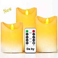 """Da by Flameless Candles Battery Candles Set of 9(H 4"""" 5"""" 6"""" 7"""" 8"""" 9"""") Ivory Real Wax Pillar Candles Remote Timer (Batteries not Included)"""