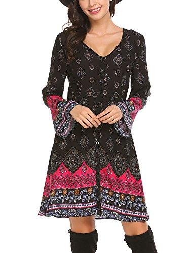 SE MIU Women Long Sleeve Print Bohemian Mini Tunic Dress, Black, - Miu Miu Miu