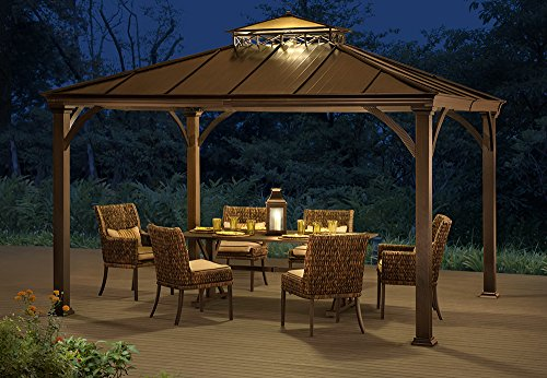 Sunjoy 12 X 10 Two Tier Hardtop Gazebo Matt Black Poles