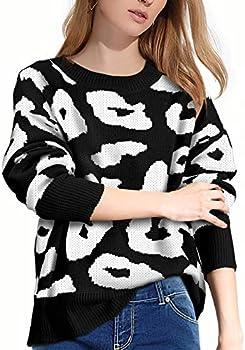 Luxur Stylish Long Sleeve Crew Neck Leopard Sweaters