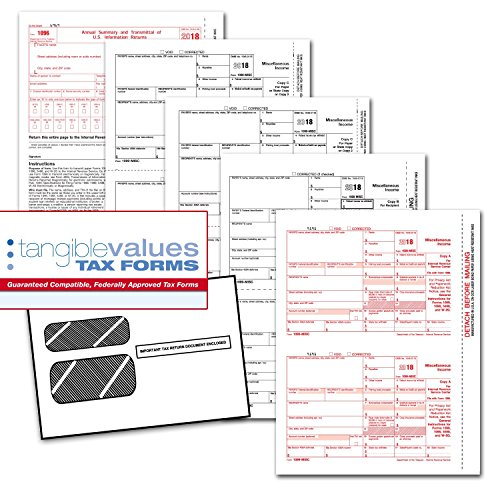 Tangible Values 1099 Misc Laser Forms (4-Part) Kit with Env for 50 Vendors + 3 Form 1096's (2018) by Tangible Values