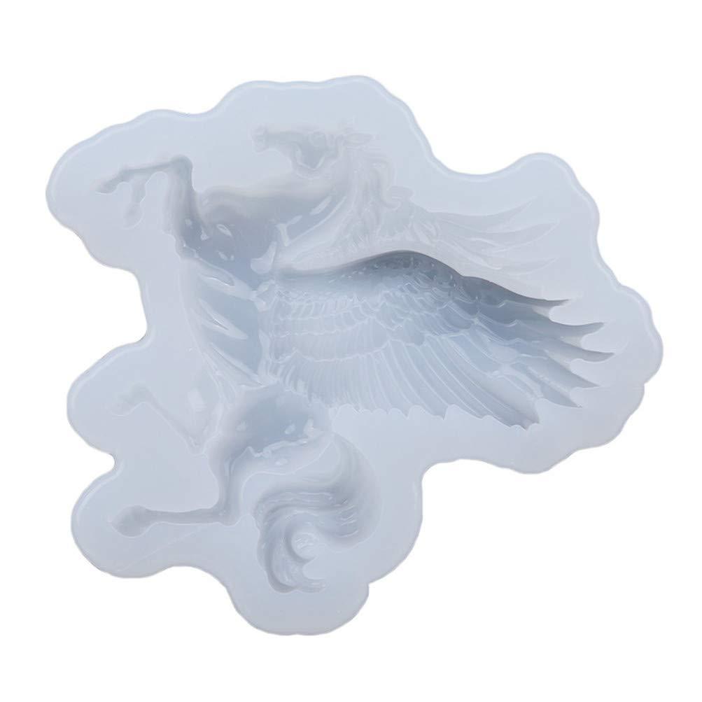 Flybloom Silikonformen Einhorn Pegasus Form DIY Fondant Schokolade Sugarcraft Plätzchenform Kuchen Dekor Backen Werkzeuge Rosa HeShengFactory