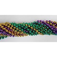 33 Inch 07.5mm Round Metallic Purple Gold and Green Mardi Gras Beads - 6 Dozen (72 Necklaces) by Mardi Gras Spot