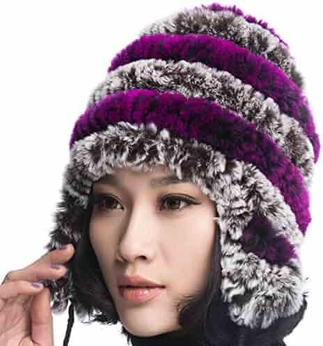 f42aa9c229f3d URSFUR Women s Rex Rabbit Fur Hats Winter Ear Cap Flexible Multicolor
