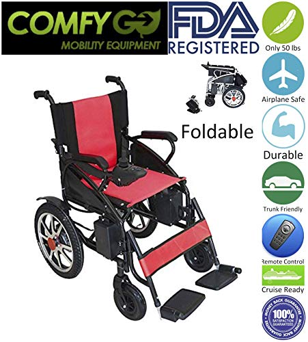 2019 UPDATED Electric Wheelchairs Silla de Ruedas Electrica para Adultos FDA Approved Transport Friendly Lightweight Folding Electric Wheelchair for Adults by Comfy Go (Red)