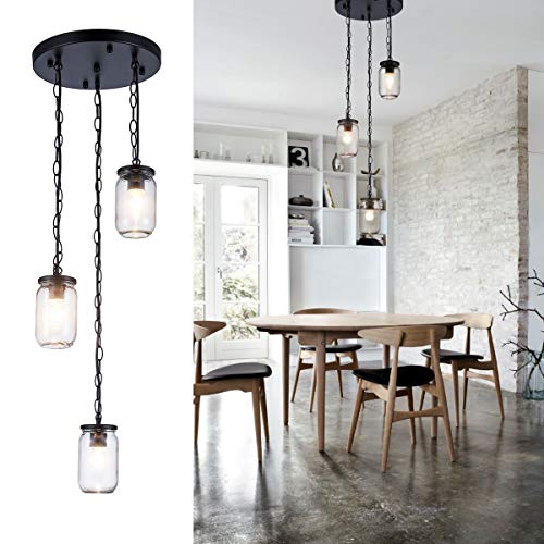 3 Mason Jar Pendant Light in US - 7
