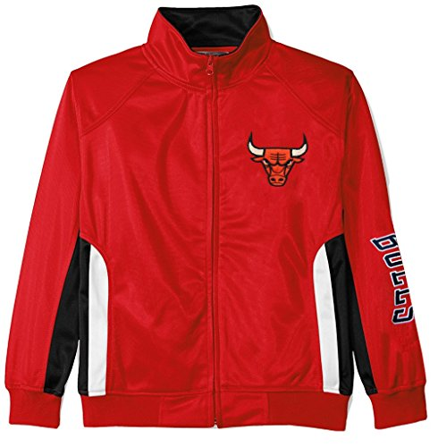 VF Chicago Bulls NBA Majestic Boys Full Zip Tricot Track Jacket Red Youth Sizes (L)