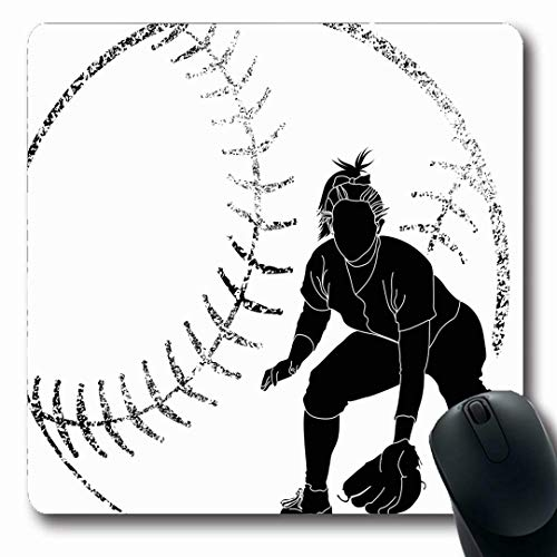 Ahawoso Mousepads Girl Softball Fielder Sports Recreation Bat Athlete Batting Catching Design Oblong Shape 7.9 x 9.5 Inches Non-Slip Gaming Mouse Pad Rubber Oblong Mat