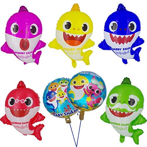 Tuoyi Baby Shark Party Supplies, 2pcs Baby Shark Duplex Prints Foil Balloons, 5pcs Baby Shark Family Balloons, Baby Shark Birthday Party Decorations ()