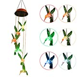 XYOP LED Wind Chime Solar USB Charge 2 in 1, Light Sensor LED Mobile Solar Wind Chimes Color-Changing Waterproof 6 Hummingbird Wind Chimes for Home, Party, Night Garden Decoration