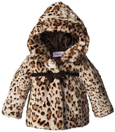 Pistachio Baby Girls' Wildcat Printed Faux Fur Jacket, Tan, 18 Months