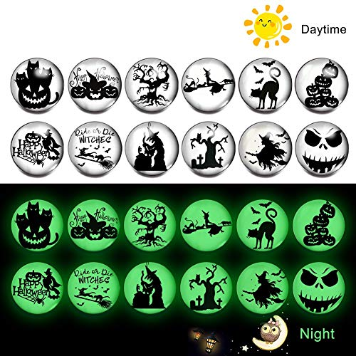 Halloween Snap Jewelry Charms Luminous Glass Snap Button Pumpkin Spider Bat Boo Skeleton Ghost Snap Charms (B-Ghost) ()