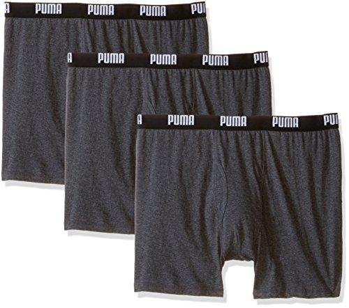 PUMA Men's 3 Pack 100% Cotton Boxer Brief, Dark Grey, Medium