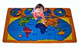 world carpet - Kids Rug World Map 3' X 5' Children Area Rug for Playroom & Nursery - Non Skid Gel Backing (39