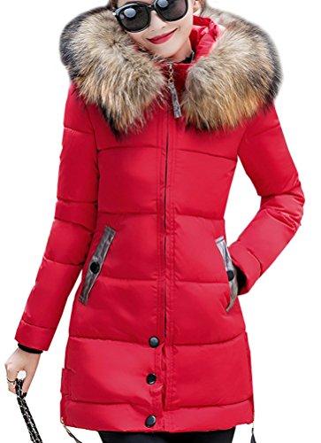 Magike Manteau Chaud Doudoune Femme Veste Capuche Fourrure Faux Long Hiver Jacket Blouson Causal Marron Rouge