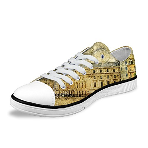 - syssjcyg Fashion-Sneakers 3D Printed Ancient Architectural Buildings Pattern Canvas Shoes for Women.