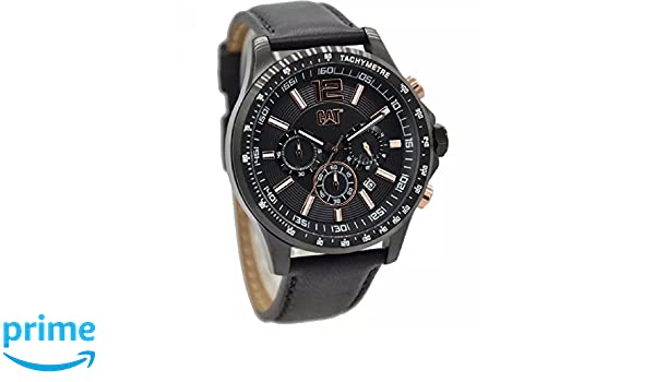 Amazon.com: CAT Boston Mens Watch Black/Rose Gold Dial 44 MM Black Leather AD.163.34.139: Watches
