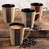 Gibson Home Color Ladder 14 oz Assorted Design Mugs, Set Of 4